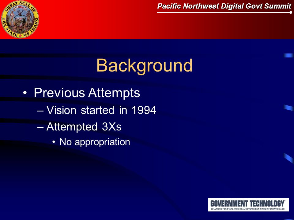 Pacific Northwest Digital Govt Summit Background Previous Attempts –Vision started in 1994 –Attempted 3Xs No appropriation