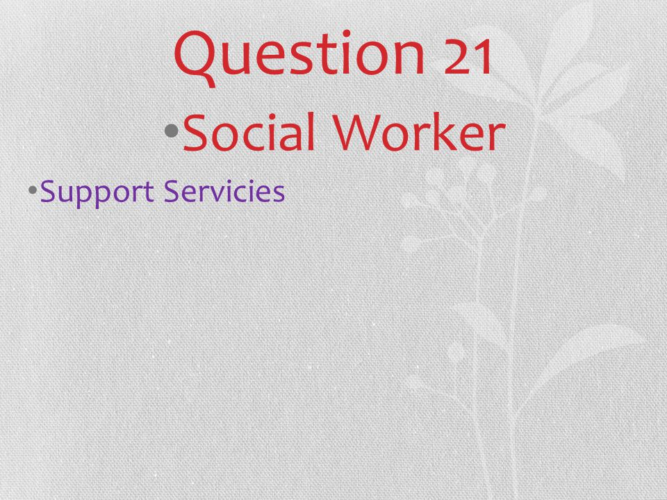 Question 21 Social Worker Support Servicies