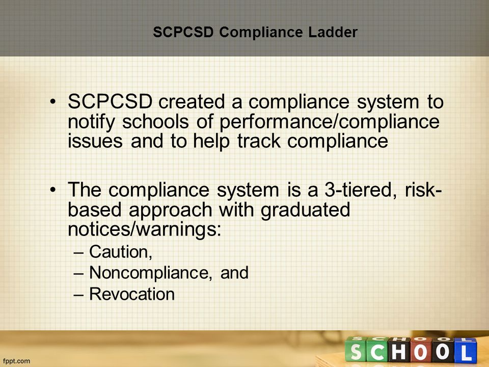 SCPCSD Compliance Ladder SCPCSD created a compliance system to notify schools of performance/compliance issues and to help track compliance The compliance system is a 3-tiered, risk- based approach with graduated notices/warnings: –Caution, –Noncompliance, and –Revocation