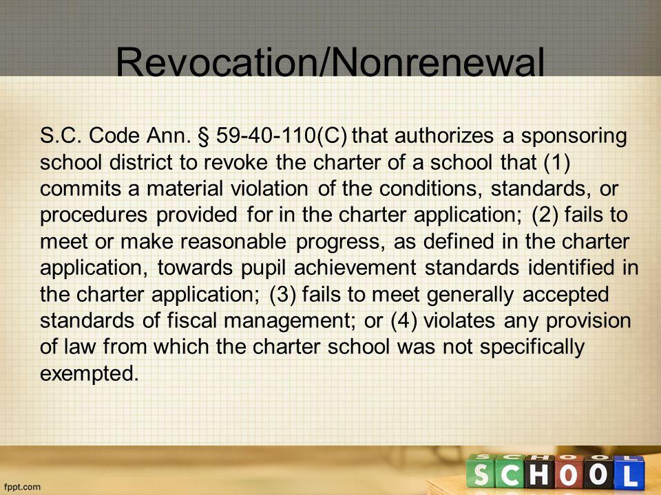 Revocation/Nonrenewal S.C. Code Ann.