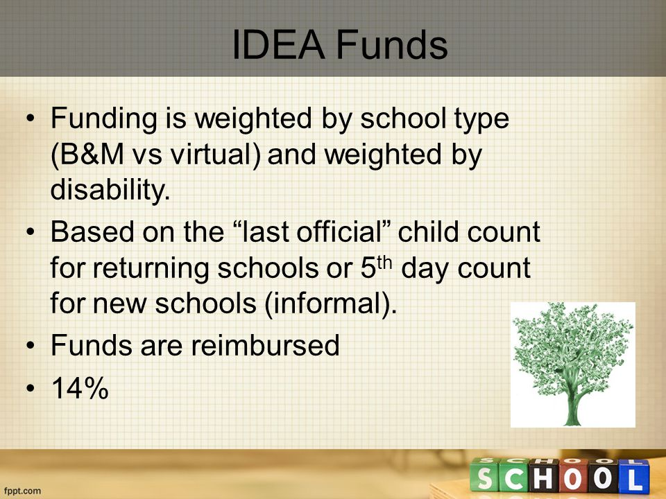 IDEA Funds Funding is weighted by school type (B&M vs virtual) and weighted by disability.