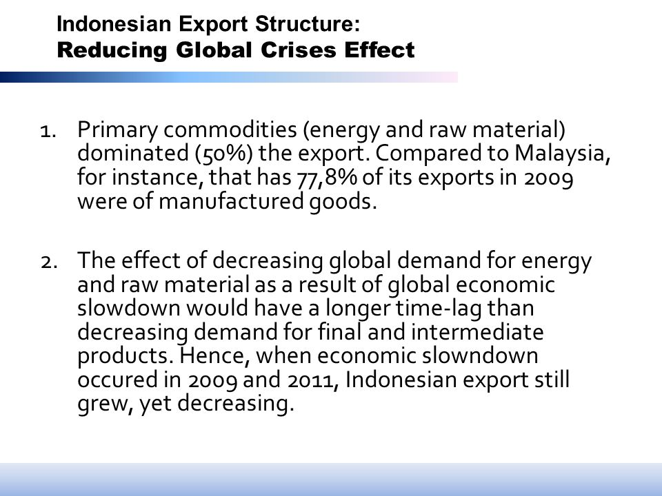 Indonesian Export Structure: Reducing Global Crises Effect 1.Primary commodities (energy and raw material) dominated (50%) the export.