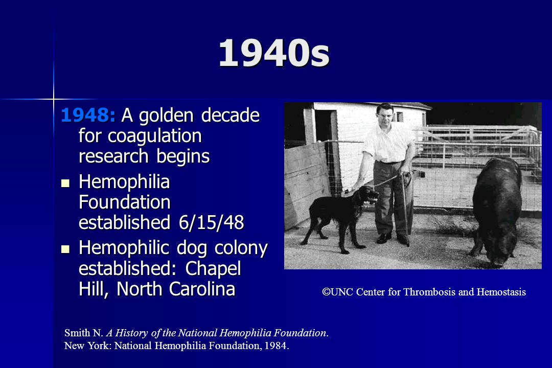 1940s 1948: A golden decade for coagulation research begins Hemophilia Foundation established 6/15/48 Hemophilia Foundation established 6/15/48 Hemophilic dog colony established: Chapel Hill, North Carolina Hemophilic dog colony established: Chapel Hill, North Carolina Smith N.