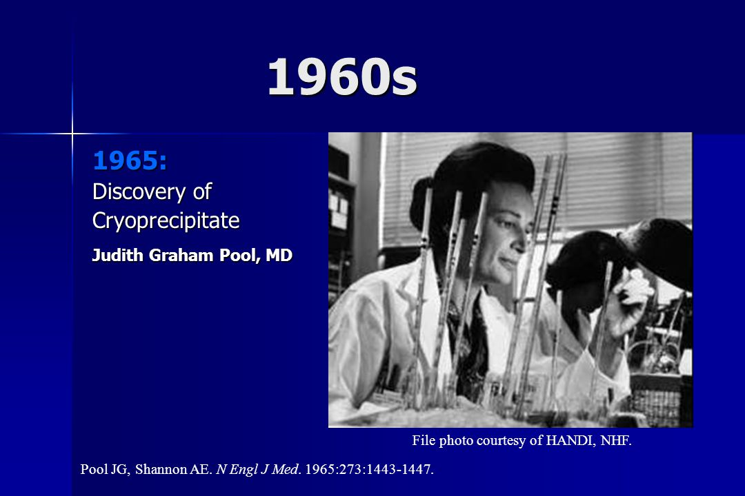 1960s 1965: Discovery of Cryoprecipitate Judith Graham Pool, MD File photo courtesy of HANDI, NHF. Pool JG, Shannon AE. N Engl J Med. 1965:273:1443-14