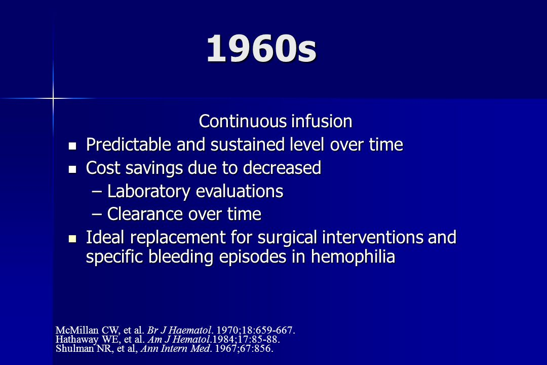 1960s Continuous infusion Predictable and sustained level over time Predictable and sustained level over time Cost savings due to decreased Cost savings due to decreased –Laboratory evaluations –Clearance over time Ideal replacement for surgical interventions and specific bleeding episodes in hemophilia Ideal replacement for surgical interventions and specific bleeding episodes in hemophilia McMillan CW, et al.