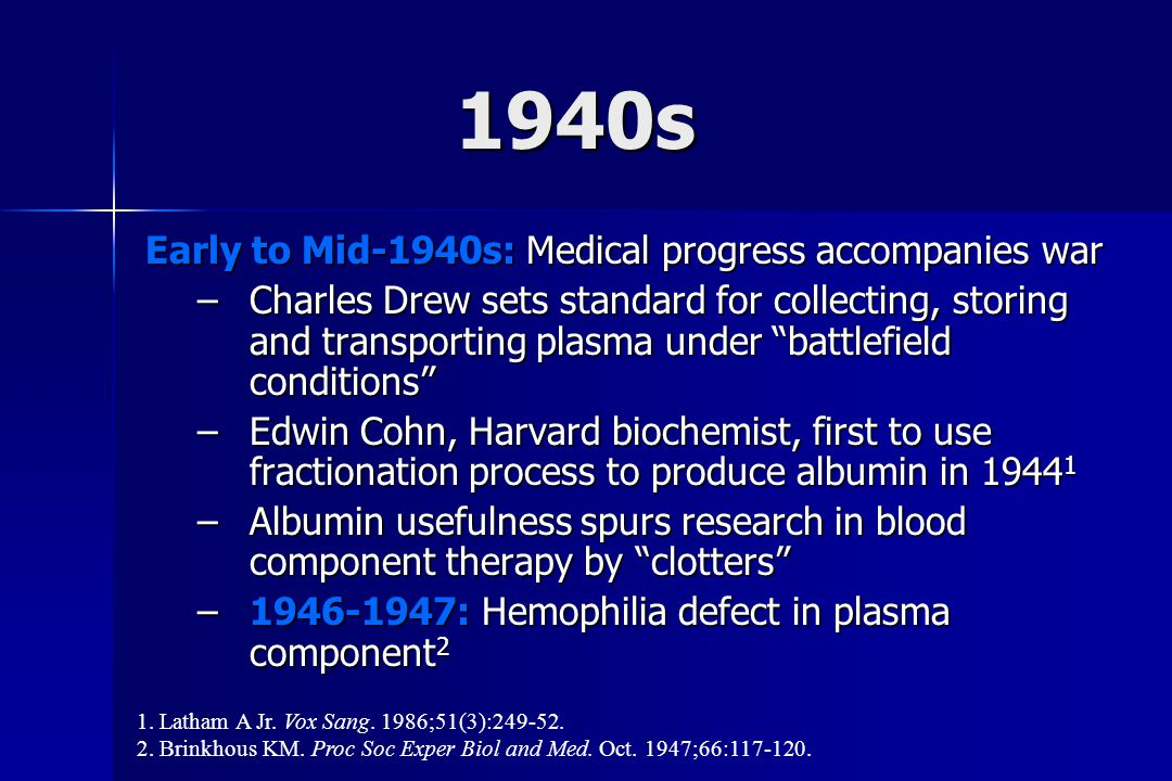 1940s Early to Mid-1940s: Medical progress accompanies war –Charles Drew sets standard for collecting, storing and transporting plasma under battlefield conditions –Edwin Cohn, Harvard biochemist, first to use fractionation process to produce albumin in 1944 1 –Albumin usefulness spurs research in blood component therapy by clotters –1946-1947: Hemophilia defect in plasma component 2 1.