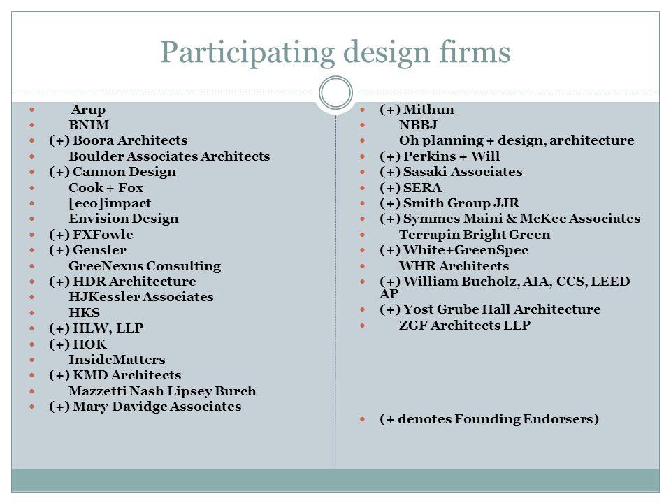 Participating design firms Arup BNIM (+) Boora Architects Boulder Associates Architects (+) Cannon Design Cook + Fox [eco]impact Envision Design (+) F