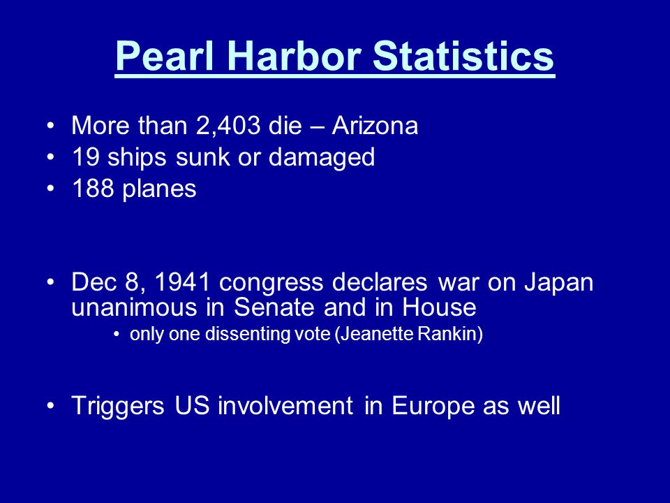 Pearl Harbor Statistics More than 2,403 die – Arizona 19 ships sunk or damaged 188 planes Dec 8, 1941 congress declares war on Japan unanimous in Sena