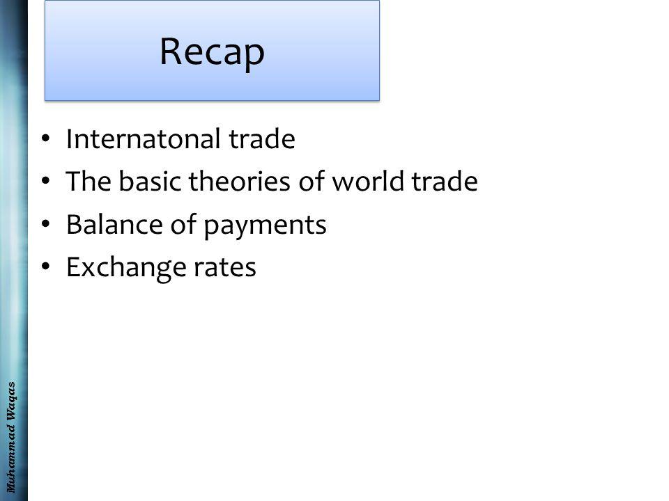 Muhammad Waqas Recap Internatonal trade The basic theories of world trade Balance of payments Exchange rates