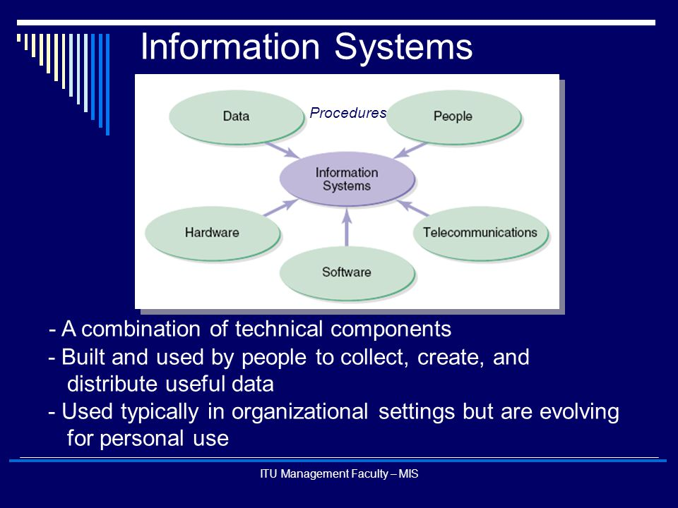 ITU Management Faculty – MIS Information Systems - A combination of technical components - Built and used by people to collect, create, and distribute