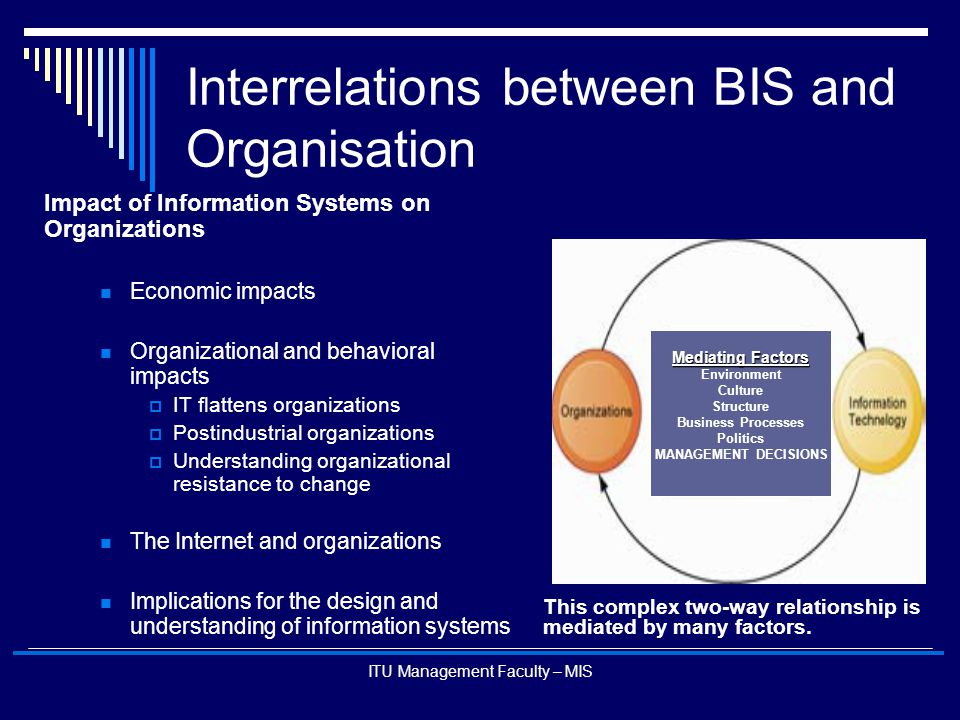 ITU Management Faculty – MIS Interrelations between BIS and Organisation Impact of Information Systems on Organizations Economic impacts Organizationa