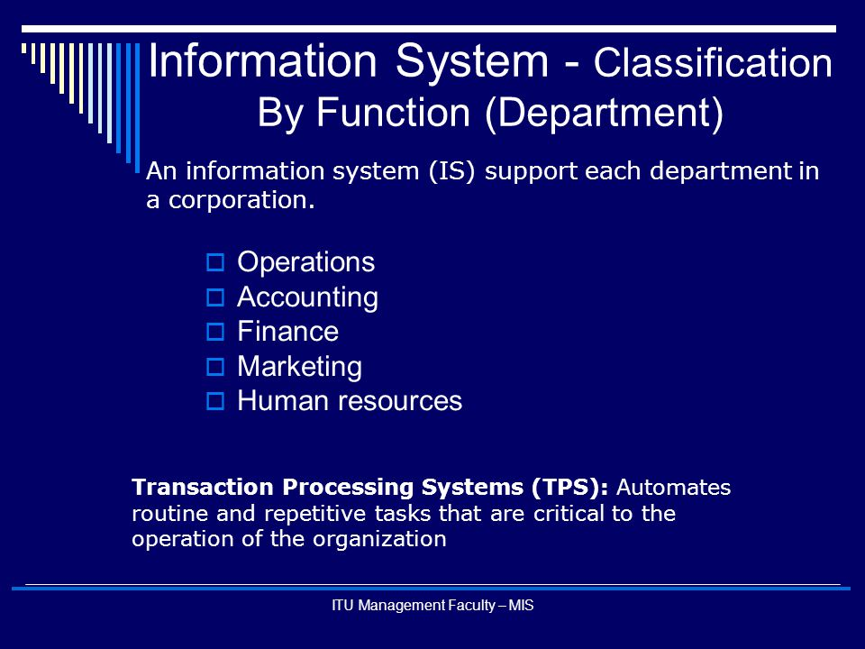 ITU Management Faculty – MIS Information System - Classification By Function (Department)  Operations  Accounting  Finance  Marketing  Human reso