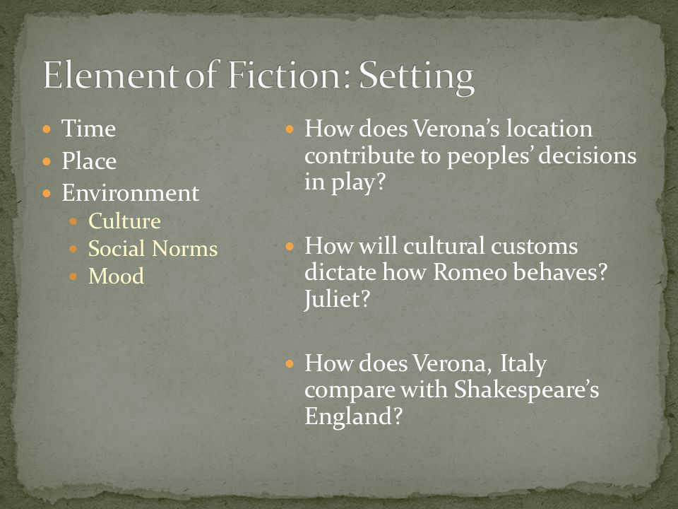 Time Place Environment Culture Social Norms Mood How does Verona's location contribute to peoples' decisions in play.