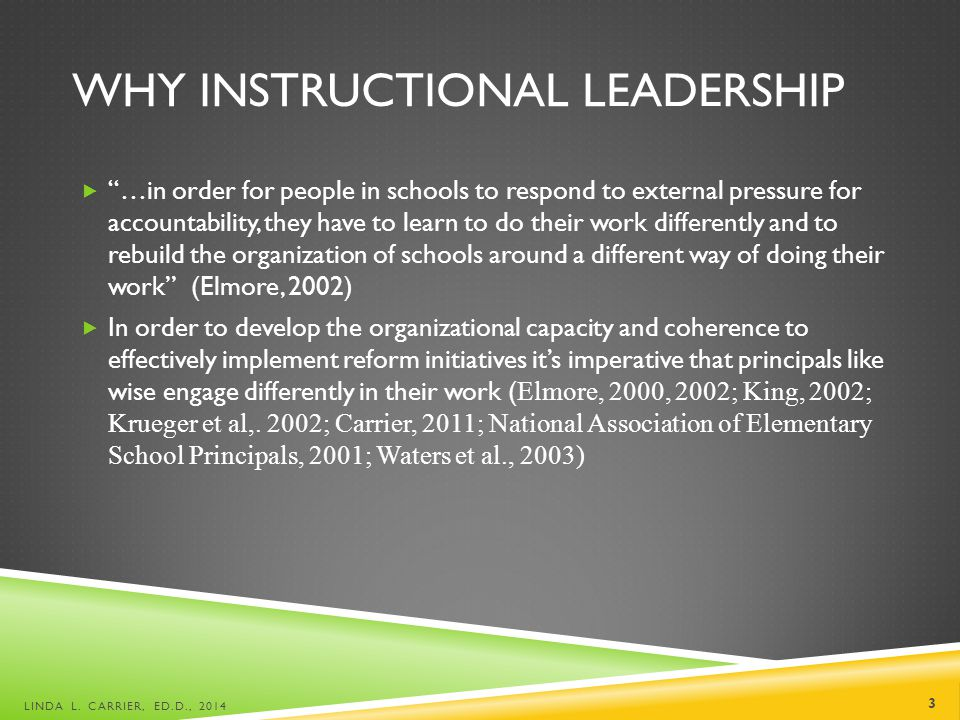 WHY INSTRUCTIONAL LEADERSHIP  …in order for people in schools to respond to external pressure for accountability, they have to learn to do their work differently and to rebuild the organization of schools around a different way of doing their work (Elmore, 2002)  In order to develop the organizational capacity and coherence to effectively implement reform initiatives it's imperative that principals like wise engage differently in their work ( Elmore, 2000, 2002; King, 2002; Krueger et al,.