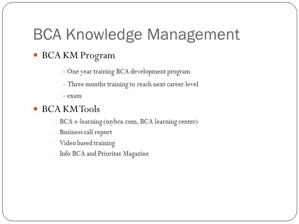 BCA Knowledge Management BCA KM Program - One year training BCA development program - Three months training to reach next career level - exam BCA KM Tools - BCA e-learning (mybca.com, BCA learning center) - Business call report - Video based training - Info BCA and Prioritas Magazine