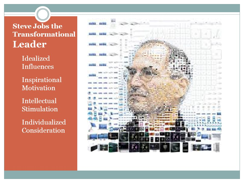Steve Jobs the Transformational Leader Idealized Influences Inspirational Motivation Intellectual Stimulation Individualized Consideration