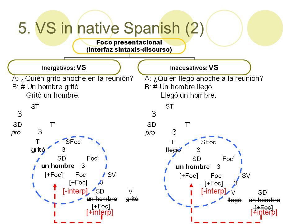 5. VS in native Spanish (2) Foco presentacional (interfaz sintaxis- discurso) Inergativos: VSInacusativos: VS [-interp] [+interp] [-interp]