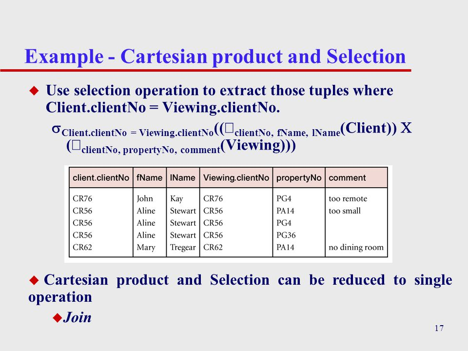 17 Example - Cartesian product and Selection u Use selection operation to extract those tuples where Client.clientNo = Viewing.clientNo.  Client.clie