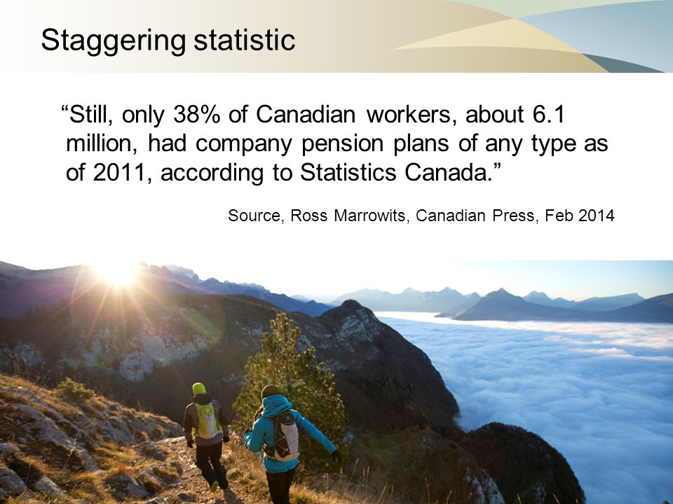 Staggering statistic Still, only 38% of Canadian workers, about 6.1 million, had company pension plans of any type as of 2011, according to Statistics Canada. Source, Ross Marrowits, Canadian Press, Feb 2014