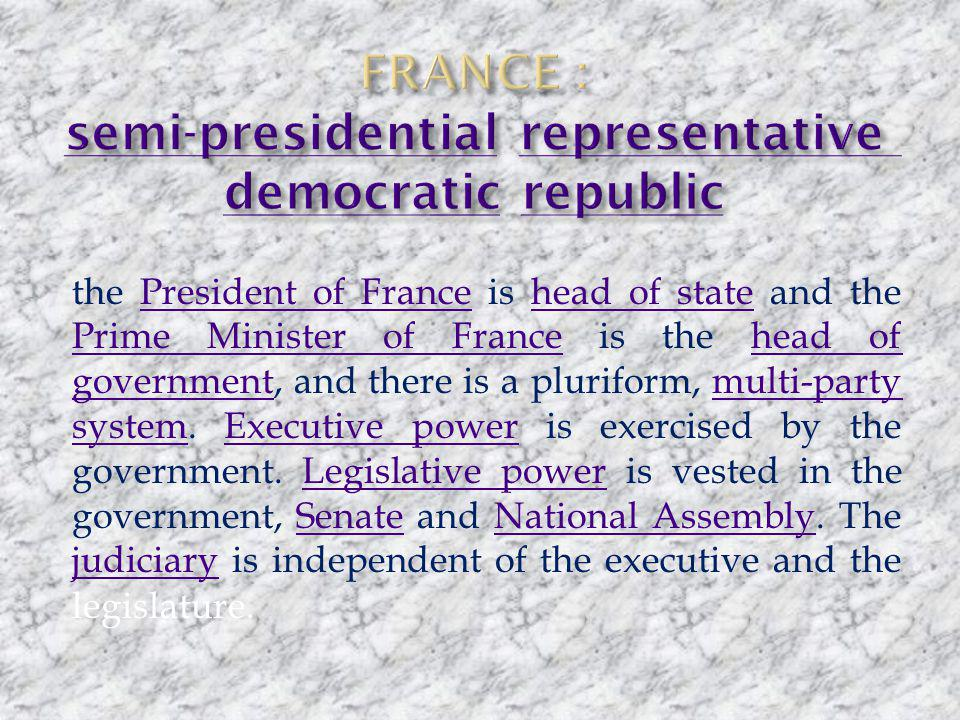 the President of France is head of state and the Prime Minister of France is the head of government, and there is a pluriform, multi-party system.