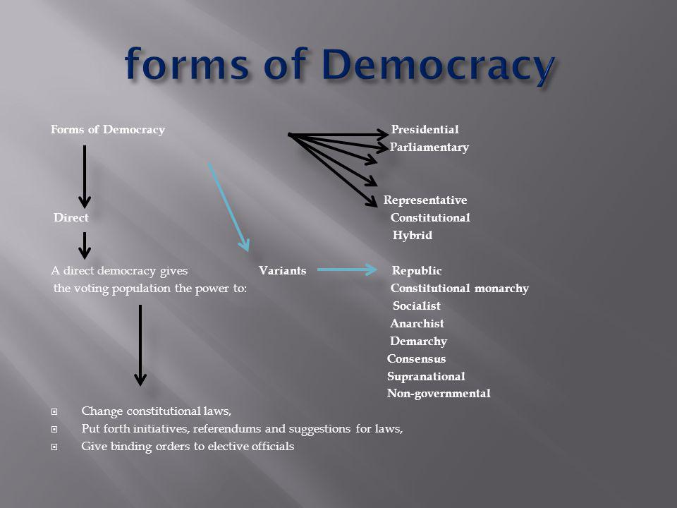 Forms of Democracy Presidential Parliamentary Representative Direct Constitutional Hybrid A direct democracy gives Variants Republic the voting population the power to: Constitutional monarchy Socialist Anarchist Demarchy Consensus Supranational Non-governmental  Change constitutional laws,  Put forth initiatives, referendums and suggestions for laws,  Give binding orders to elective officials