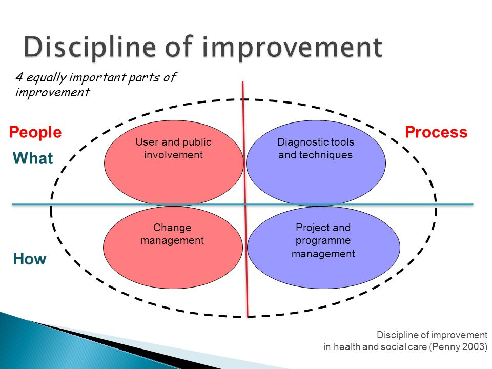 4 equally important parts of improvement Diagnostic tools and techniques Project and programme management User and public involvement Change managemen