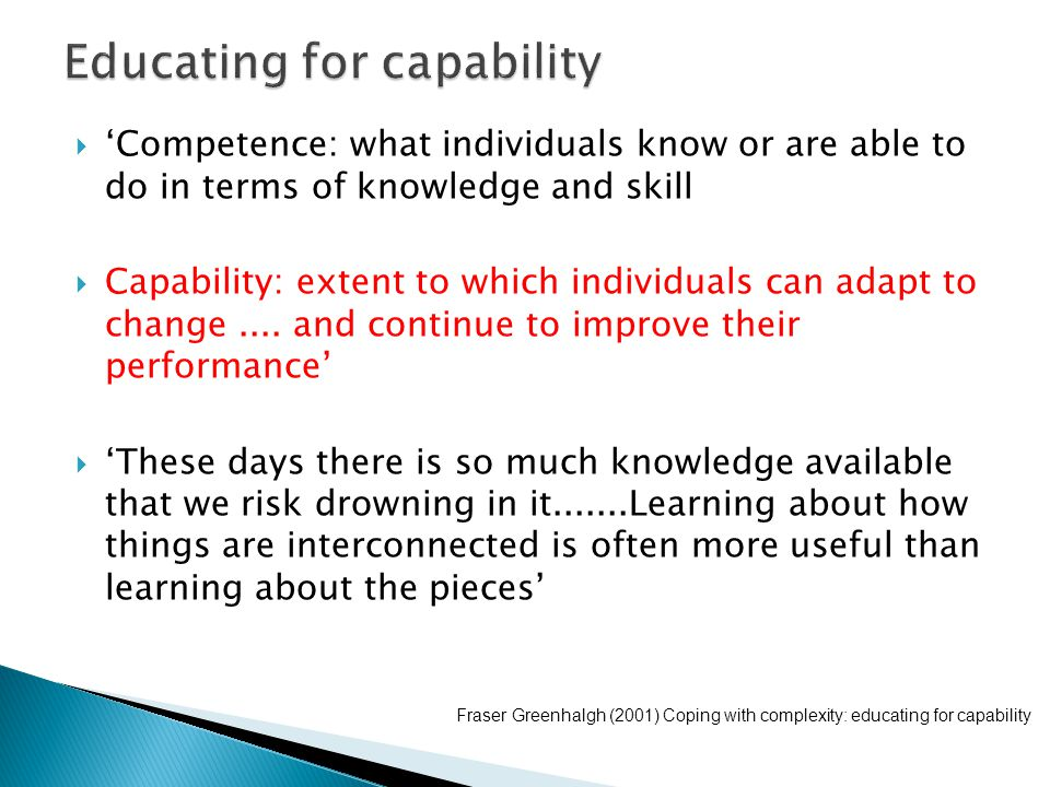  'Competence: what individuals know or are able to do in terms of knowledge and skill  Capability: extent to which individuals can adapt to change..