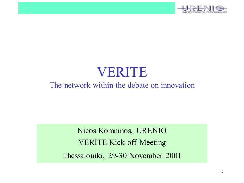 1 VERITE The network within the debate on innovation Nicos Komninos, URENIO VERITE Kick-off Meeting Thessaloniki, 29-30 November 2001