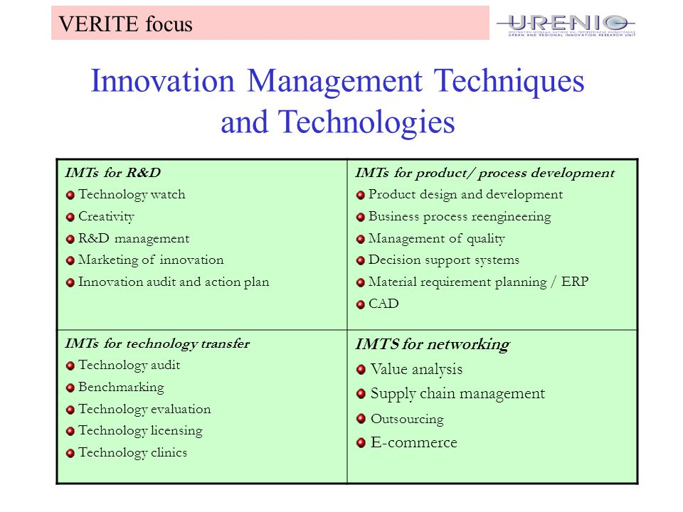 11 Innovation Management Techniques and Technologies IMTs for R&D Technology watch Creativity R&D management Marketing of innovation Innovation audit and action plan IMTs for product/ process development Product design and development Business process reengineering Management of quality Decision support systems Material requirement planning / ERP CAD IMTs for technology transfer Technology audit Benchmarking Technology evaluation Technology licensing Technology clinics IMTS for networking Value analysis Supply chain management Outsourcing E-commerce VERITE focus