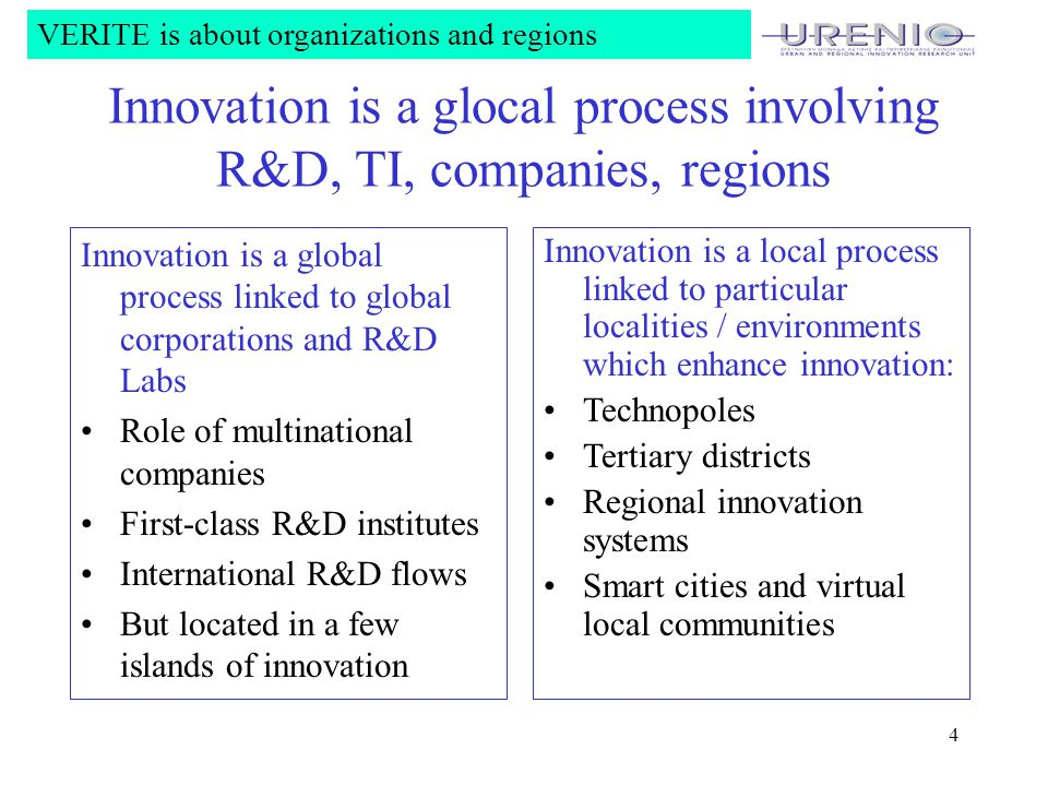 4 Innovation is a glocal process involving R&D, TI, companies, regions Innovation is a local process linked to particular localities / environments which enhance innovation: Technopoles Tertiary districts Regional innovation systems Smart cities and virtual local communities VERITE is about organizations and regions Innovation is a global process linked to global corporations and R&D Labs Role of multinational companies First-class R&D institutes International R&D flows But located in a few islands of innovation
