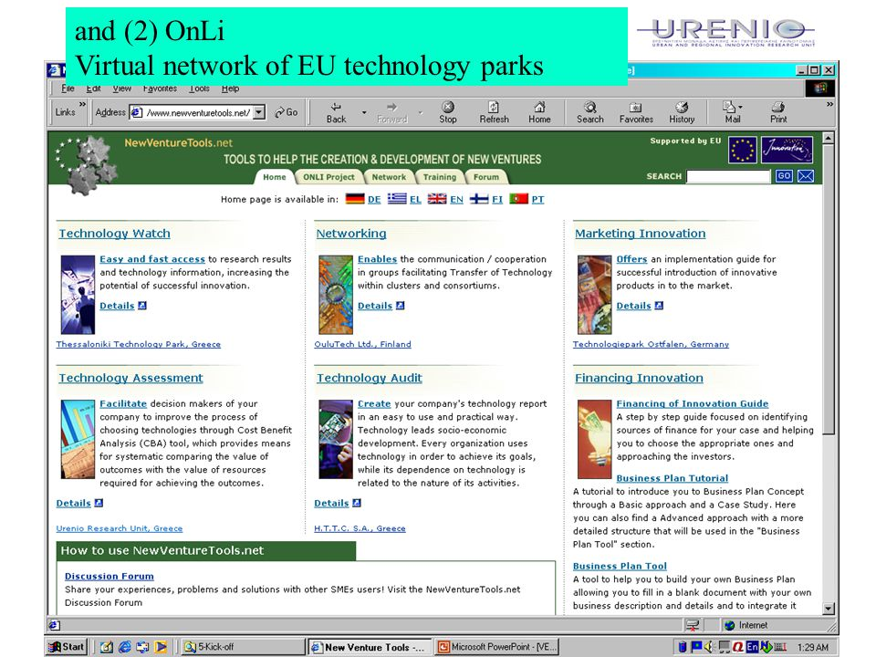 6 and (2) OnLi Virtual network of EU technology parks