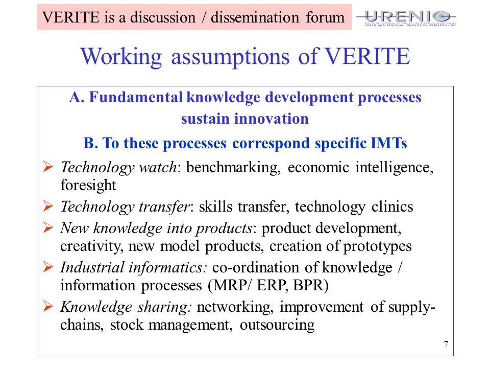 7 Working assumptions of VERITE A.