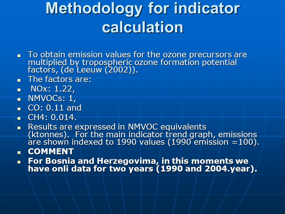 Methodology for indicator calculation To obtain emission values for the ozone precursors are multiplied by tropospheric ozone formation potential factors, (de Leeuw (2002)).