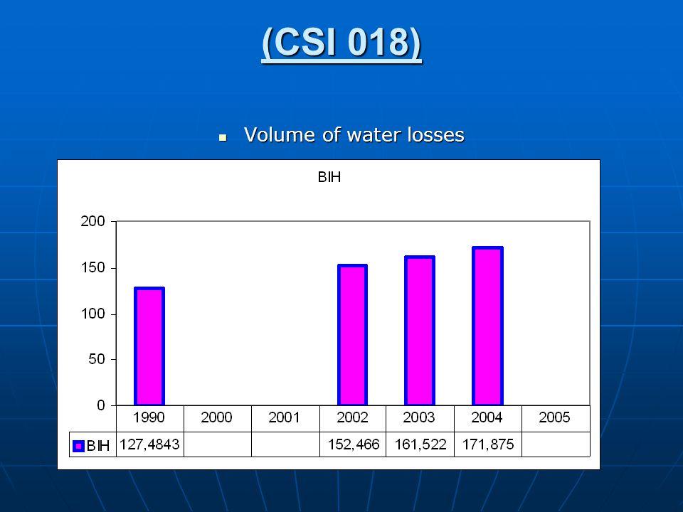 (CSI 018) Volume of water losses Volume of water losses