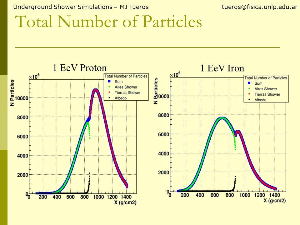 Total Number of Particles Underground Shower Simulations – MJ Tueros tueros@fisica.unlp.edu.ar 1 EeV Proton 1 EeV Iron