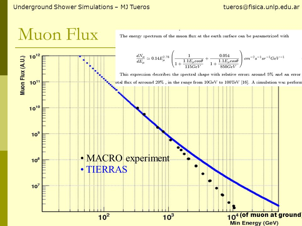 Muon Flux Underground Shower Simulations – MJ Tueros tueros@fisica.unlp.edu.ar MACRO experiment TIERRAS (of muon at ground)