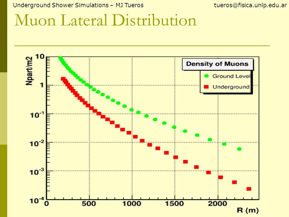 Muon/Electron ratio Underground Shower Simulations – MJ Tueros tueros@fisica.unlp.edu.ar