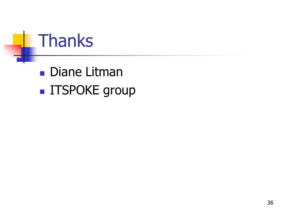 36 Thanks Diane Litman ITSPOKE group