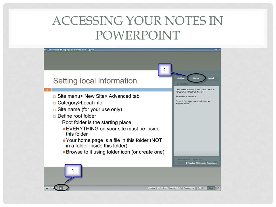 ACCESSING YOUR NOTES IN POWERPOINT