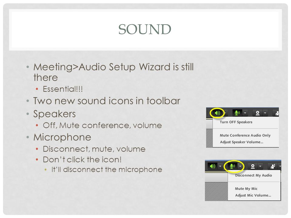 AUDIO MENU Audio menu allows: Single Speaker mode Only one person can talk Disables mike for other participants Asterisk means you are the speaker Enable Audio For Participants Multiple speakers Very easy to step on each other's sound Set up ground rules if you use this option E.g.