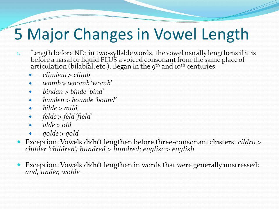 5 Major Changes in Vowel Length 1.