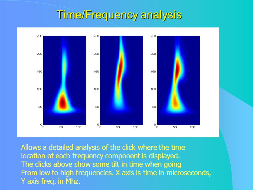 Time/Frequency analysis Allows a detailed analysis of the click where the time location of each frequency component is displayed.
