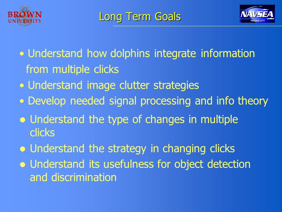 Long Term Goals Understand the type of changes in multiple clicks Understand the strategy in changing clicks Understand its usefulness for object detection and discrimination Understand how dolphins integrate information from multiple clicks Understand image clutter strategies Develop needed signal processing and info theory