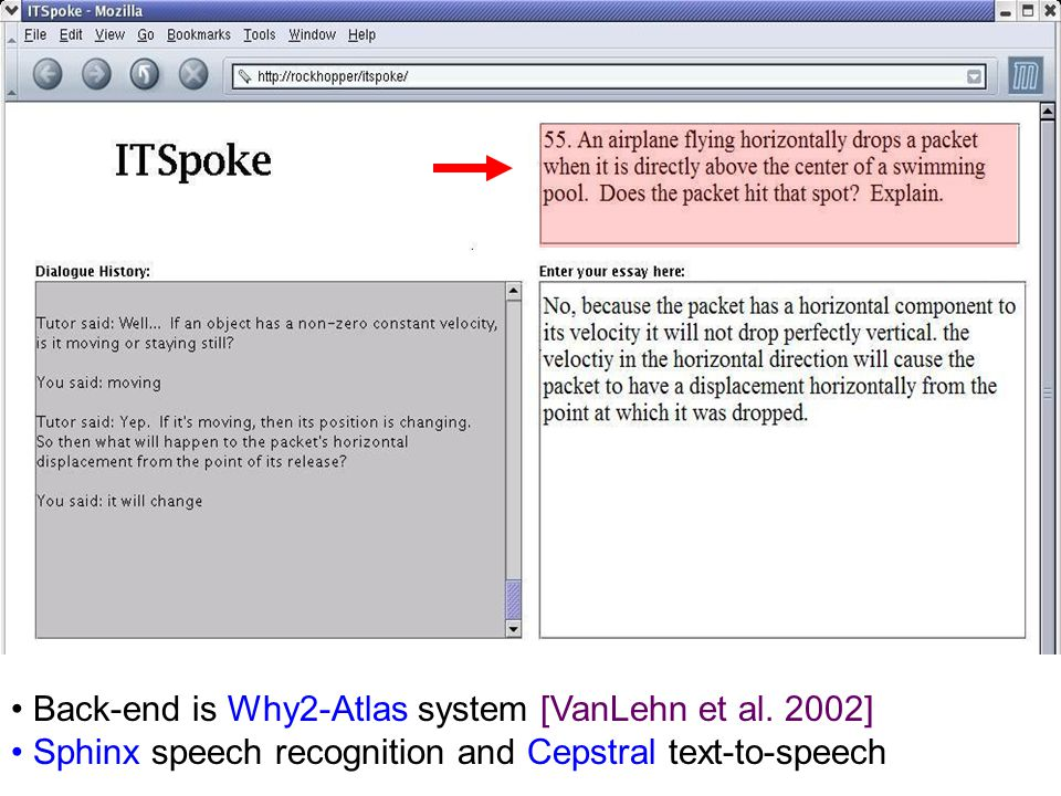 Back-end is Why2-Atlas system [VanLehn et al. 2002] Sphinx speech recognition and Cepstral text-to-speech