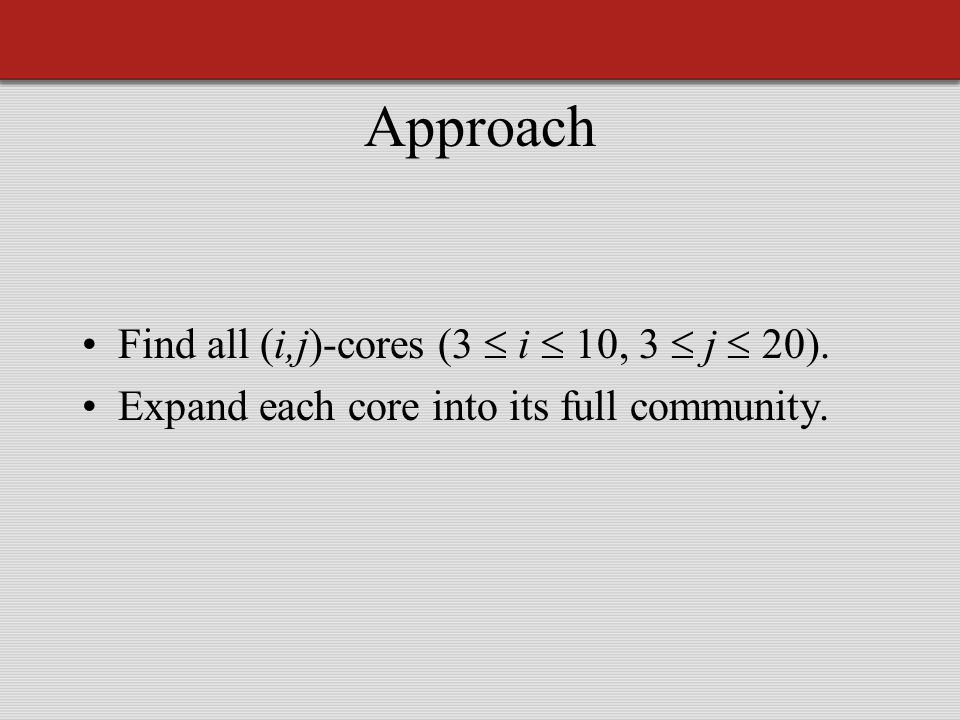 Approach Find all (i,j)-cores (3  i  10, 3  j  20). Expand each core into its full community.