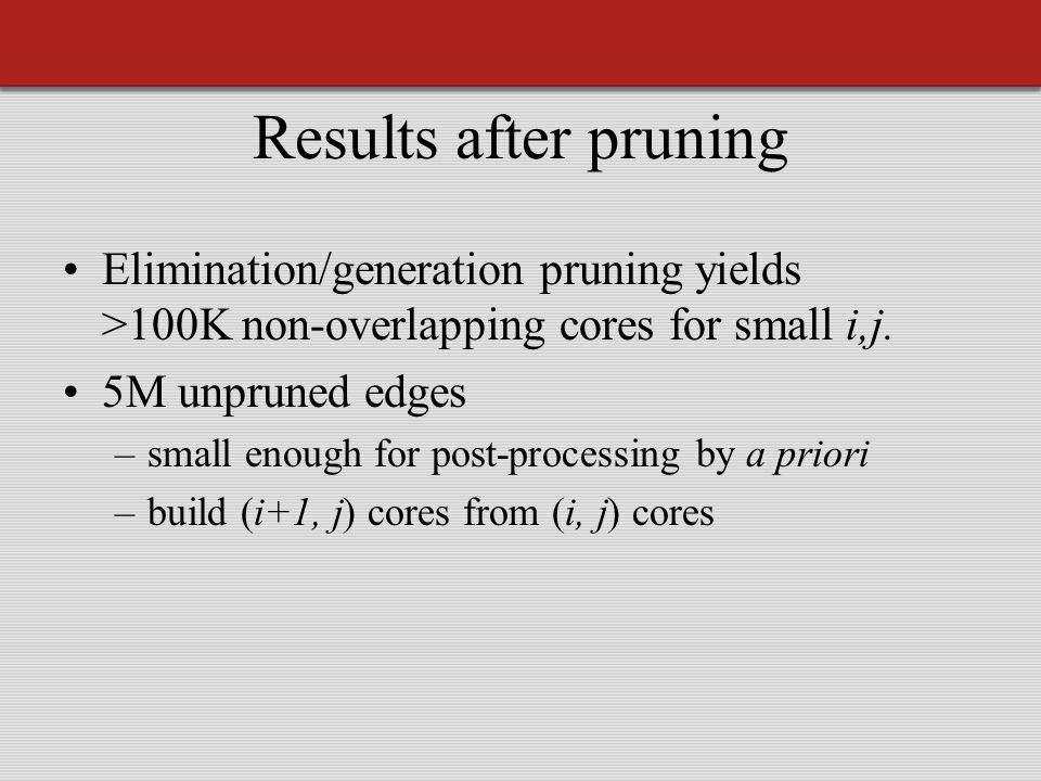 Results after pruning Elimination/generation pruning yields >100K non-overlapping cores for small i,j.