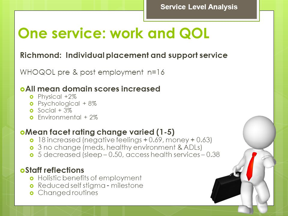 One service: work and QOL Richmond: Individual placement and support service WHOQOL pre & post employment n=16  All mean domain scores increased  Physical +2%  Psychological + 8%  Social + 3%  Environmental + 2%  Mean facet rating change varied (1-5)  18 increased (negative feelings + 0.69, money + 0.63)  3 no change (meds, healthy environment & ADLs)  5 decreased (sleep – 0.50, access health services – 0.38  Staff reflections  Holistic benefits of employment  Reduced self stigma - milestone  Changed routines Service Level Analysis