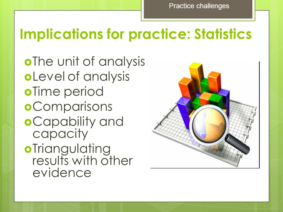 Implications for practice: Statistics  The unit of analysis  Level of analysis  Time period  Comparisons  Capability and capacity  Triangulating results with other evidence Practice challenges