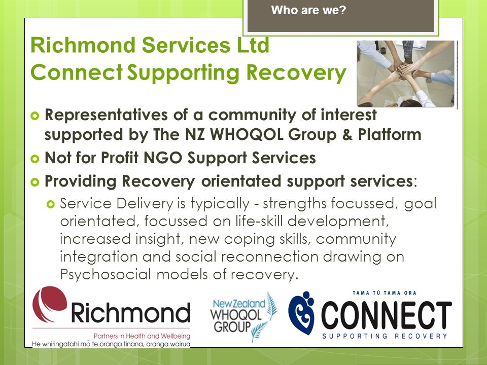  Representatives of a community of interest supported by The NZ WHOQOL Group & Platform  Not for Profit NGO Support Services  Providing Recovery orientated support services :  Service Delivery is typically - strengths focussed, goal orientated, focussed on life-skill development, increased insight, new coping skills, community integration and social reconnection drawing on Psychosocial models of recovery.
