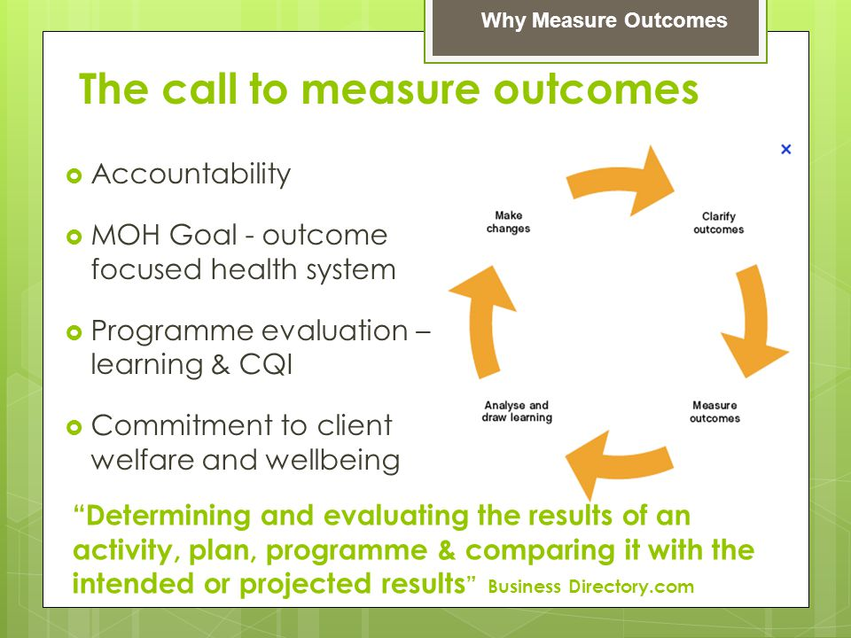The call to measure outcomes  Accountability  MOH Goal - outcome focused health system  Programme evaluation – learning & CQI  Commitment to clien